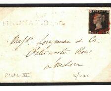 GB Penny Black 1840 Cover RARE Late Use *BINGHAM.Dec* Notts 1d Plate 6 (OJ) MC59