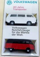 VW  WIKING SET 40 JAHRE TRANSPORTER VW BUS T1 ROT SCHWARZ UND T3 WEISS 1:87