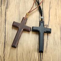 Retro Wood Cross Crucifix Leather Cord Pendant Men Women Necklace Sweather Chain