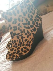 Leopard Print Wedge Ankle Boots Size 6 By Office
