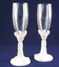 Pair of Resin Stemmed Flute Toasting Glasses-Rose Design Wedding/Anniversary