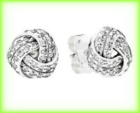 Genuine PANDORA SPARKLING LOVE KNOTS STUD EARRINGS Silver S925 ALE 290696CZ £55