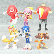 6 PCS Sonic The Hedgehog Knuckles Tails Action Figure Cake Topper Kids Gift Toy