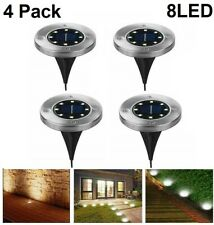 LED Solar Power Buried Disk Light Ground Lawn Pathway Waterproof Lamp Warm White