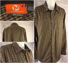 Merrell Long Sleeve Shirt XL Brown Plaid Poly Button Mint Cond. India YGI 19gg