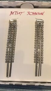 Earrings By Betsey Johnson. Silver Colour Chain And Crystal Dangle.New Boxed