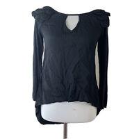 Yoana Baraschi Anthropologie Womens Black Keyhole Front Blouse Size XS