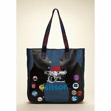Kitson Tote Bag Nwt Printed Cámara Large Blue