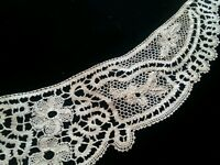 Antique Rococo Bobbin Lace Collar Trim Remnant Scrolly with Flowers