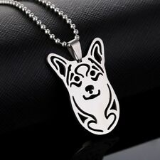 Stainless Steel Welsh Corgi Head Pet Dog Tag Pendant Necklace Pembroke Cardigan