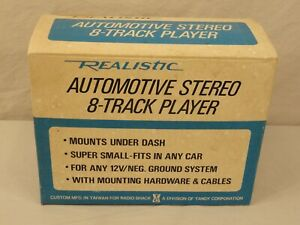 VTG NEW REALISTIC AUTOMOTIVE STEREO 8 TRACK TAPE PLAYER 12-1802B CAR NIB NOS
