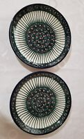 HAND PAINTED POLISH CERAMIC POTTERY PEACOCK DINNER PLATE SET OF 2.