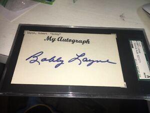 Bobby Layne HOF Detroit Lions  Signed 3x5 index Card JSA Slabbed