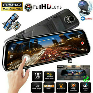 "10"" HD 1080P Dual Lens Car DVR Dash Cam Video Camera Recorder Rearview Mirror US"
