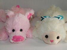 Lamb & Pig Stuffed Plush Animals Farm TWO 14 Inches Each