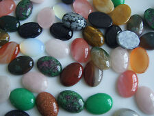 10 x Assorted Colours Natural Stone 18x25mm Oval Cabochons For Jewellery Making