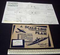 "16"" Gun Battleship USS Indiana 1940s Vintage Modelcraft Plan + Original Packet"
