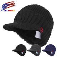 Fall Winter Visor Beanie Fleece Lined Knit Hat with Brim Peaked Ski Skull Cap