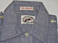VINTAGE UNUSED 1960s BLUE CHAMBRAY WORK SHIRT! SHORT SLEEVE/2 POCKETS/EPAULETS S