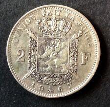 Belgique - Léopold II  - Jolie monnaie 2  Francs 1867 modèle A