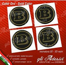 4 Adesivi Resinati Sticker 3D BRABUS Smart 60 mm Nero e Oro GEL cerchi