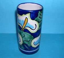 Art pottery - Attractive Hand Painted Cylindrical Beaker / Vase (Signed).