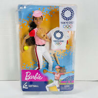 Mattel BARBIE TOKYO 2020 SOFTBALL PLAYER DOLL Summer Olympics TOY NEW NIB NRFB