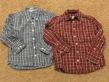 Old Navy Mossimo Lot of 2 Boys Long Sleeved Dress Shirts sz XS 4/5 Red Blue VGUC