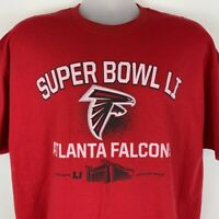 New Atlanta Falcons Super Bowl LI X-Large XL T Shirt NFL Red Cotton Football