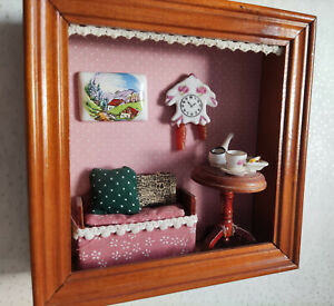 Reutter Miniaturen Wandbild Puppenstube 14,5 x 14,5 CM - Wohnstube (#04)