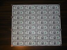 UNCUT FULL SHEET OF 32 x $2 TWO DOLLAR NOTES BILLS MONEY CURRENCY GEM UNC