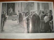 King Edward VII throne room Bucking Palace 1902 print