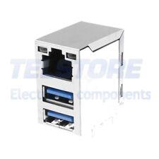 1pcs  Presa USB A x2 / RJ45 per PCB THT angolare doppie dorato ATTEND