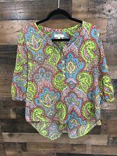 Umgee Women's Multicolor Paisley Boho Print Popover Blouse Size L