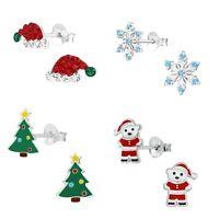 Girls Ladies Sterling Silver CHRISTMAS Stud Earrings SANTA XMAS TREE - Boxed