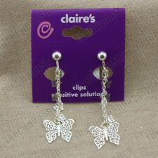 "CLIP ON 2""long chain BUTTERFLY EARRINGS delicate butterflies 925 SILVER PLATED"