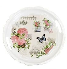Melamine Round Colourful Dinning Breakfast Dinner Serving Tray With Handles