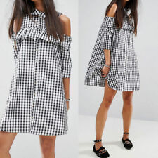 PLUS SIZE 24/22 100% COTTON BLACK & WHITE CHECK COLD SHOULDER A-LINE DRESS