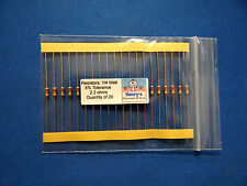 Resistors, carbon film, 1/4 watt, 5%, axial leaded, 2.2 Ohm - QTY of 20