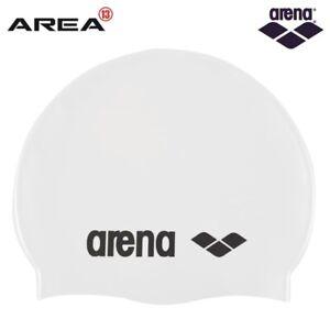 Arena Classic Silicone Swim Cap White-Black, Swimming Cap, Silicone Swim Cap