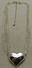 "Vintage 16+3"" 3mm Necklace w/ Multi Chains & Plump Heart Pendant Silver Tone"