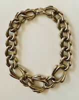 Vintage Large Chain Silver Tone Choker Necklace - Stunning On