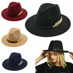 Women Ladies Vintage Large Felt Trilby Fedora Jazz Wide Brim Hats Caps Gangster
