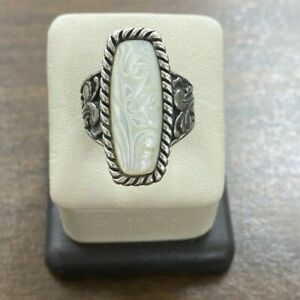 Sterling Silver 925 Carolyn Pollack Mother of Pearl Carved Elongated Ring