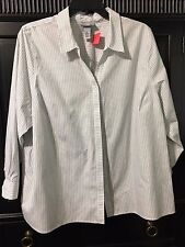 CATHERINE'S LONG SLEEVE BUTTON UP FRONT BLOUSE/TOP SIZE 22/24  EUC  BLACK/WHITE