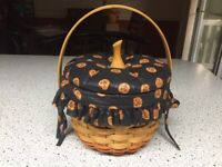 Longaberger 1996 halloween small basket with lid, liner, protector, vintage