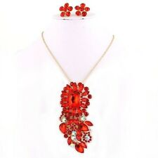 3 PC Set-18k Gold Plated Broche/Pendant Chain & Earrings Red & Clear Rhinestone