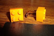 "Orange LEGO Design Cuff links 1 Pair (Two) (5/8"" x 5/8"")  * Hamilton Gold Plate"