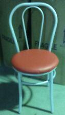 Sedia vienna thonet in metallo struttura grigio seduta finta pelle rosso