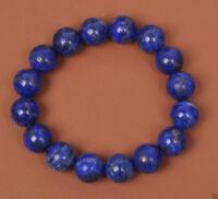 Natural Indigo Lapis Lazuli Round Gemstone Beads Stretchy Bracelet 10mm AAA